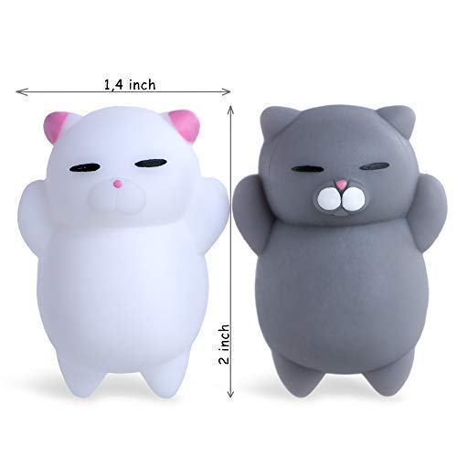 NUTTY TOYS Squishy Cat Set - 2 Soft Silicone Kawaii Kitty Squishies -Top Stress Relief & Fidget Toy 2019 - Unique Kids & Adults Easter Present Idea Gifts for Boys, Girls, Tweens & Teens