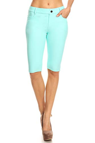 ICONOFLASH Women's Stretchy Bermuda Shorts 5 Pockets Cotton Turquoise Knee Length Leggings Size Small ()