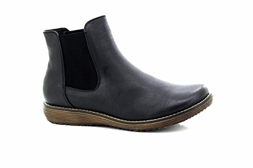 WOMENS LOW WEDGE FLAT CHELSEA ANKLE WINTER BOOTS Black irWx5Rk