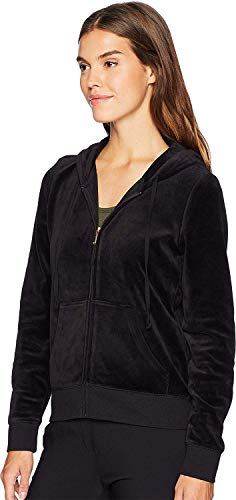 Juicy Couture Women's Track Velour Gothic Crystals Robertson Jacket Pitch Black Medium (Couture Juicy Tracksuit Lady)