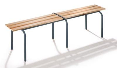 Banc pour vestiaires empilable - lattes en bois massif verni incolore - longueur 1600 mm - piétement gris basalte -