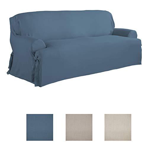 Serta | Relaxed Fit Durable Woven Linen Canvas Furniture Slipcover (T-Sofa, Indigo)