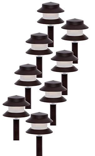 (GreenLighting 35 Lumen Modern 2-Tier Low Voltage Path Light - Outdoor 2.5 Watt Landscape Light (8 Pack, Dark Brown))