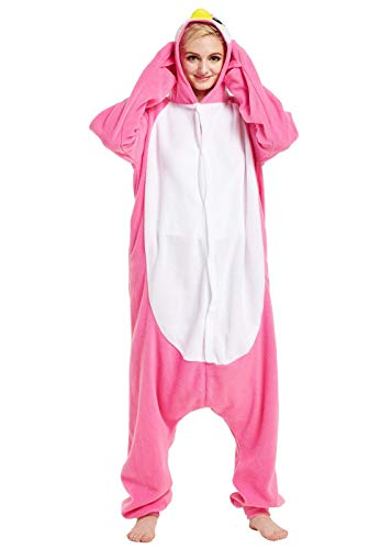 URVIP Unisex Halloween Cosplay Homewear Lounge Wear One-Piece Pajamas Penguin Pink S