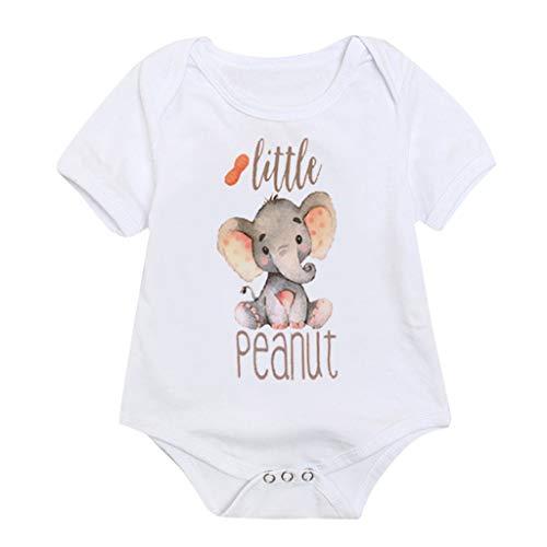 Youmymine Toddler Kids Baby Girl Boy Romper Newborn Letter Elephant Print Tops Jumpsuit Bodysuit Sunsuit Clothes (3-6Months, White)