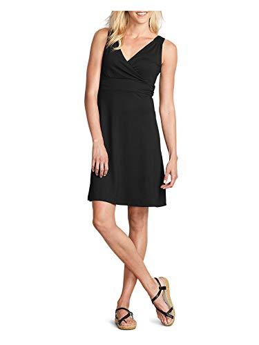 Eddie Bauer Women's Aster Crossover Dress - Solid, Black Regular M