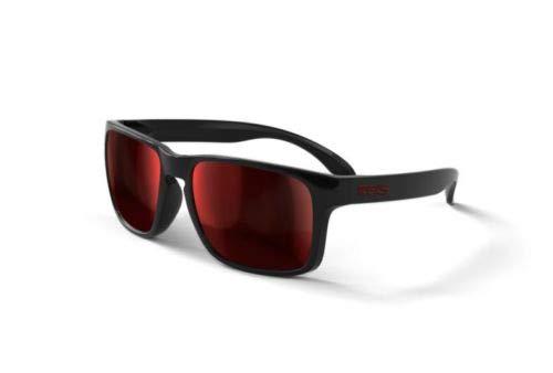 REKS Unbreakable SPORT Sunglasses, Black Frame, Anti-Reflective Red Mirror Lens
