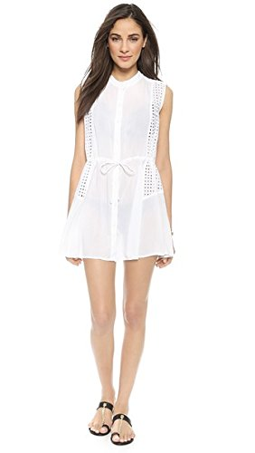 Shoshanna Women's Window Eyelet Beach Shirtdress, White, ...