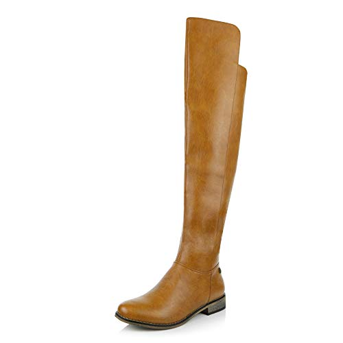 (DailyShoes Women's Ankle Zipper Round Toe Pull up Over The Knee Calf Western Cowboy Thigh High Boot, Tan PU, 10 B(M) US)
