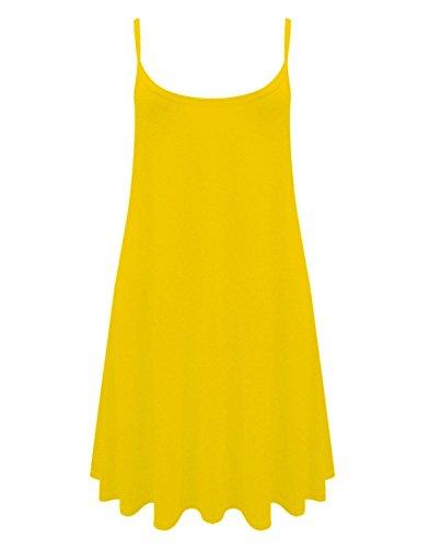 Traje de neopreno para mujer Mini decoración del mismo color Cami e instrucciones para hacer vestidos Swing (UK 10-22) MINI: YELLOW