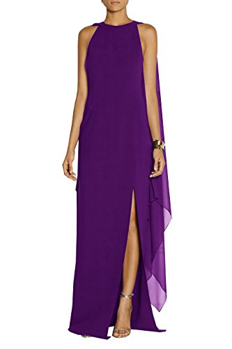 Evening with L amp;ZZ Formal Women's Gown Chiffon Dresses Purple Prom Long Cape 7frfnw0x