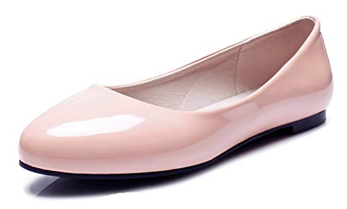 Aisun Women's Comfy Burnished Low Cut Round Toe Slip on Driving Cars Dressy Flats Shoes (Pink, 8 M US)