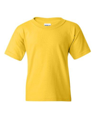 - Gildan Youth 5.5 oz 100% Cotton Short Sleeve T-Shirt in Daisy - Small (6/8)