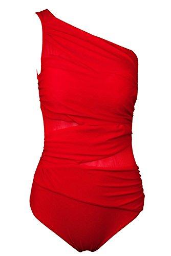one shoulder red dress ebay - 6