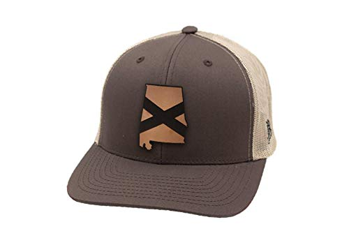 Branded Bills Alabama 'The 22' Leather Patch Hat Curved Trucker - OSFA/Brown/Tan