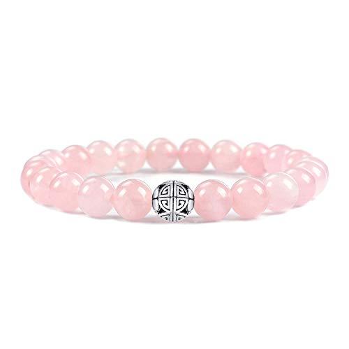 Beaded Stretch Bracelet Bangle (MetJakt Natural 8mm Gemstones Healing Crystal Stretch Beaded Bracelet Bangle 925 Silver Double Happiness Pendant (Rose Quartz))