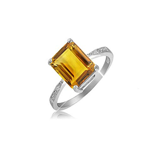 (Verona Jewlers 925 Sterling Silver Emerald Cut Genuine Gemstone Ring for Women- Available in Various Styles and Sizes (6, Citrine))