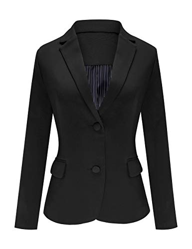 (Luyeess Women's Casual Work Office Notch Lapel Pocket Buttons Blazer Suit Jacket Black Size L)