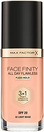 Max Factor Facefinity 3-in-1 All Day Flawless Foundation, SPF 20, Light Beige, 200 g