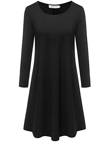 Misses Dress Tunic - Aphratti Women's Long Sleeve Casual Loose Fit Flare Tunic Shirt Dress Black XX-Large