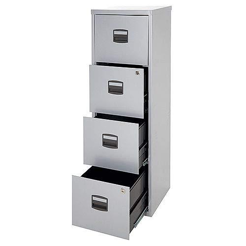 OFITURIA /® Archivador Met/álico Tipo Bisley Organizativo De Oficina Gris con 4 Cajones para Carpetas DIN A4 Y Documentos con Llave 132 X 41 X 40