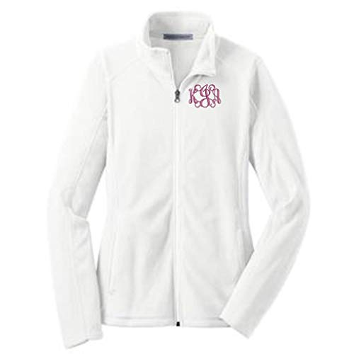 Monogrammed Women's Microfleece Jacket with Pockets (Large, White)