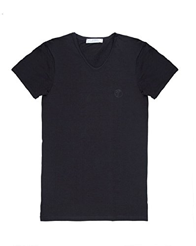 Versace Collection Men's Black Cotton V-neck Medusa Undershirt T-shirt Viovc01 (XL)