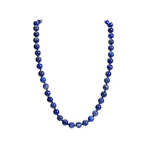 Malahill Natural Gemstone Necklace, Hand Knotted Birthstone Necklace, 18 inches Long (Lapis - Necklace Natural Gemstone
