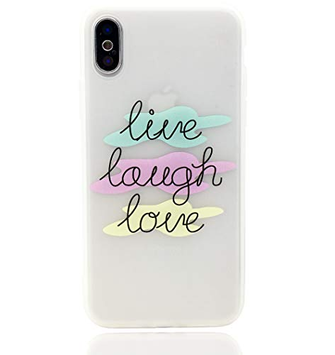 iPhone X Case, Quote About Life Pattern Print Slim Fit Case Soft TPU Silicone Bumper Shockproof Matte Clear Back Cover Motivational Phrase Quotes Design for iPhone X 10 iPhone Xs,Live ()