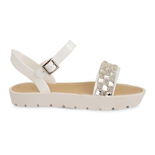 Tilly Shoes Flatform Plataforma Diamante Correa De Tobillo Cleated Sandalias Zapatos Talla - 838-White