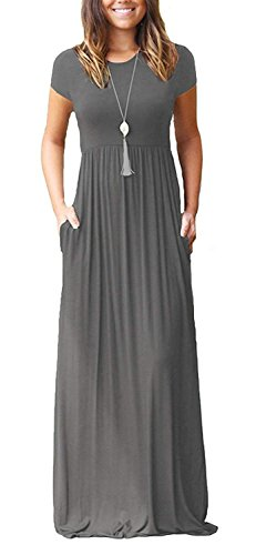 Viishow Women Short Sleeve Loose Plain Long Maxi Casual Dress with Pockets Plus Size(Grey,3XL)