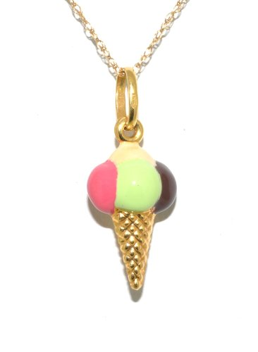 (14K Yellow Gold Colorful Ice Cream Charm )