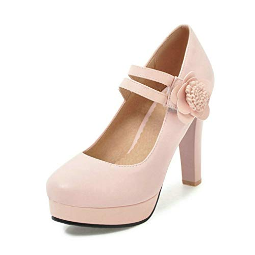 GanQuan2018 Women Mary Jane Pumps Elegant Platform Round Toe Hook&Loop Chunky Heel Female Office Dress Pumps
