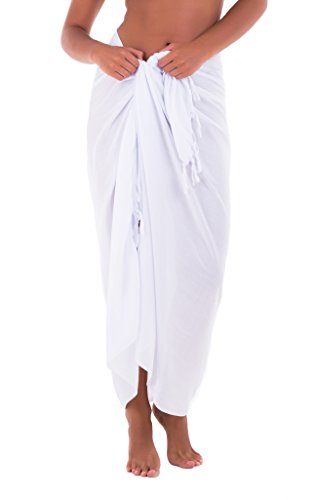 Shu-Shi Womens Beach Cover Up Sarong Swimsuit Cover-Up Many Solids Colors to choose,White,One Size (Pareo Sarong Cover Up)