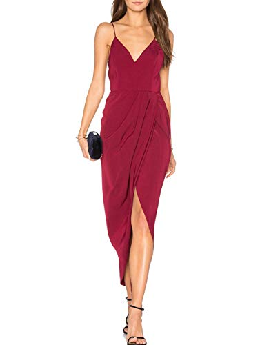 - cmz2005 Women's Sexy V Neck Backless Maxi Dress Sleeveless Spaghetti Straps Cocktail Party Dresses 71729 (M, Purplish Red)