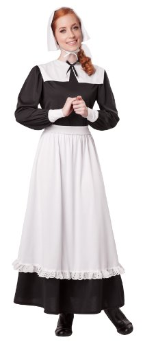 Thanksgiving Costumes (California Costumes Women's Pilgrim Woman Adult, Black/White, Small)