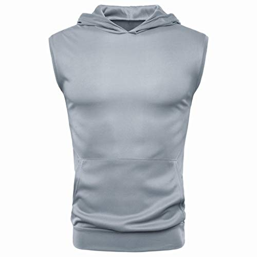 - iHPH7 Sports T-Shirt Tops Vest Men Casual Hoodie Tank Tops Sleeveless Shirts Gym Workout Sleeveless Sports T-Shirt Tops Vest Blouse XXL Gray