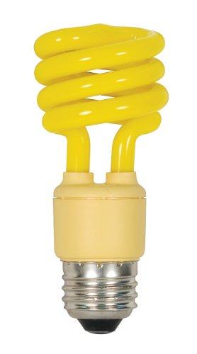 Satco S7267 13 Watt (60 Watt) Mini Spiral Color CFL Light Bulb, Bug (13w Yellow Bug)