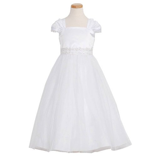 Kids Dream Girls 9/10 White Lace Trim Mesh First Communion Dress