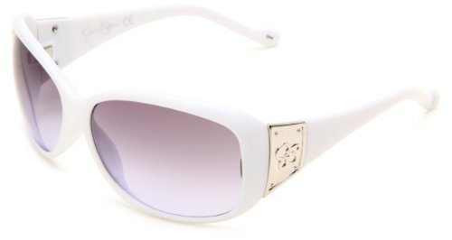 Jessica Simpson Women's J550 WH Oval Sunglasses,White Frame/Smoke Gradient Lens,One - Sunglasses Clearance