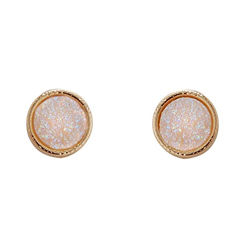 (Humble Chic Simulated Druzy Studs - Gold-Tone Plated Simple Minimalist Small Dainty Stud Earrings for Women, 11mm Simulated Opal, Opalescent, Simulated Moonstone, 0.45 inch)
