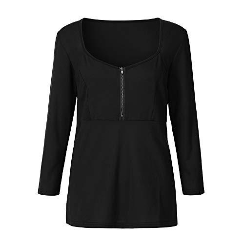 V Femme Cou Blouse Haut Tops Tunigue Manche Black Longue Chemisier Sexy Zipper 1EEqwFWR