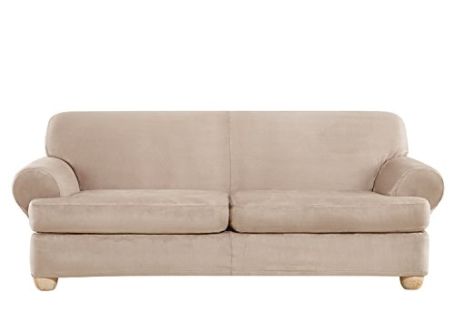 - Sure Fit Ultimate Heavyweight Stretch Suede Individual 2 Piece T-Cushion Sofa Slipcover - Cement