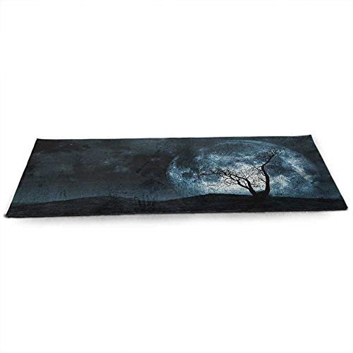 funkky Fantasy Eco Friendly Yoga Mat Night Moon Sky with Tree Silhouette Gothic Halloween Colors Scary Artsy Background for Joint Health and Physical Therapy W24 x L70 Slate Blue ()