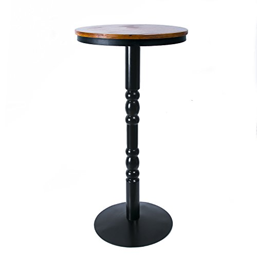 URANMOLE Wood Round Pub Bar Tables Cocktail Tables Pedestal Tables - Kitchen Dining Room Bistro Coffee Garden Living Room Tables - Wood Top Black Metal Leg and Base (Bar tables)