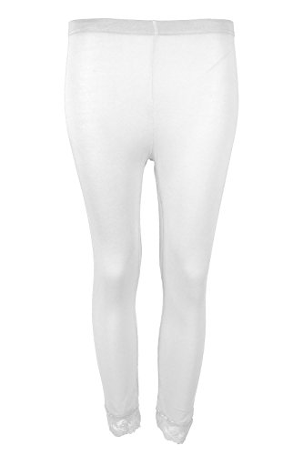 Oops Outlet Women's 3/4 Length Lace Trim Edge Cropped Trousers Jeggings Leggings Plus Size (US 20/22) White Navy Dinner Dress White
