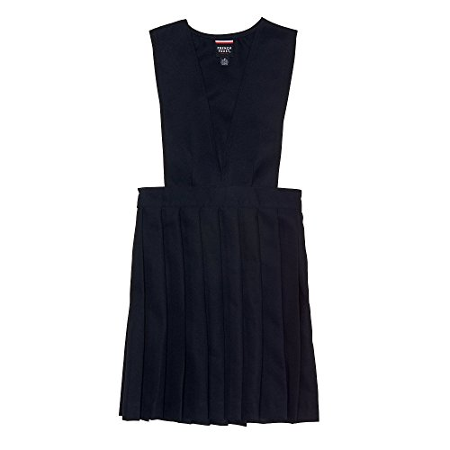 French Toast Little Girls' V-neck Pleated Jumper, Navy, 6