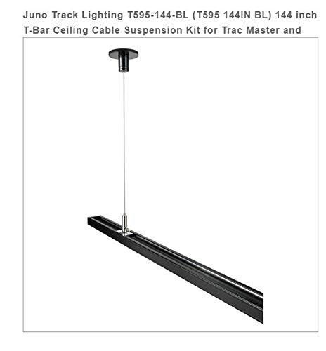 Price comparison product image Juno Track Lighting T595-144-BL (T595 144IN BL) 144 inch T-Bar Ceiling Cable Suspension Kit for Trac Master and Trac Lites,  Black Color