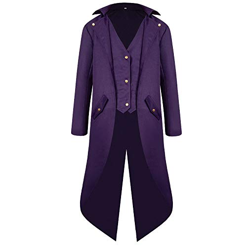 Gothic Clothing for Men,MILIMIEYIK Men's Tuxedo Tailcoat Jacket Steampunk Victorian Coat Uniform Men Vintage Costume Frock Purple ()