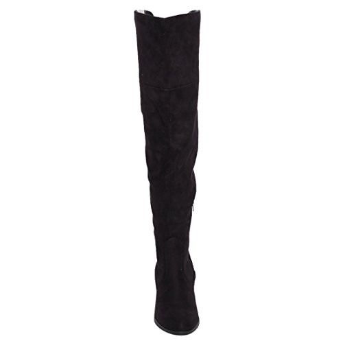 Western Knee High Boots w Foldable Flap & Block Stacked Heel Black NZMhu